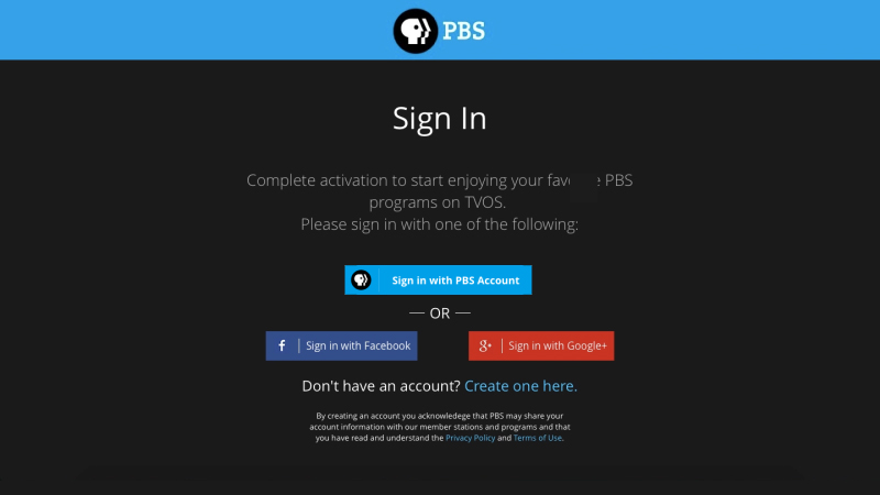Animated Sign-in with PBS Account
