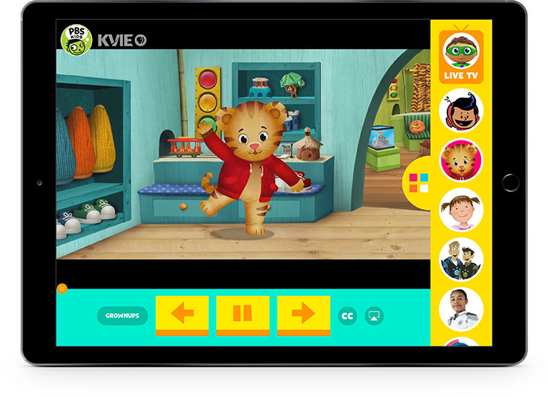 PBS Kids App on iPad in Horizontal Stand